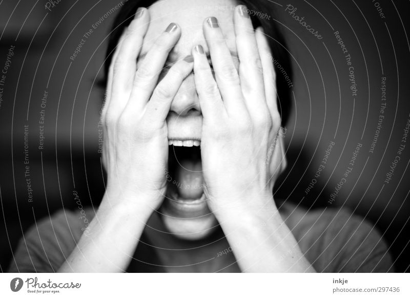 Human being Woman Hand Face Adults Life Emotions Sadness Moody Mouth Grief Fear of death Anger Pain Argument Scream