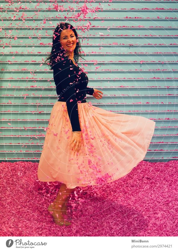 confetti dance Dance Feminine Young woman Youth (Young adults) 1 Human being Dancer Fashion Skirt High heels Black-haired Brunette Movement Smiling Romp Free