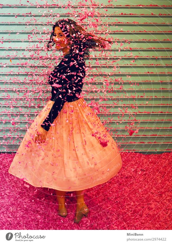 showery with confetti Beautiful Dance Feminine Young woman Youth (Young adults) 1 Human being Fashion Clothing Skirt High heels Smiling Dream Brash Free