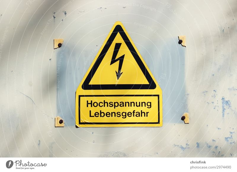 High voltage warning sign Work and employment Workplace Construction site Craft (trade) Cable Technology Energy crisis Yellow Protection Fear Threat Electricity