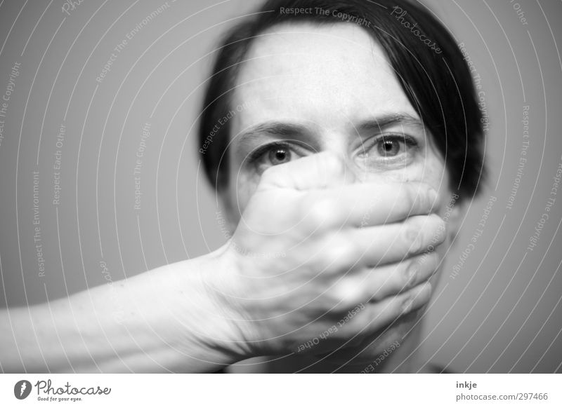 Human being Woman Hand Calm Face Adults Eyes To talk Emotions Moody Communicate To hold on Mysterious Stupid Testing & Control Shame
