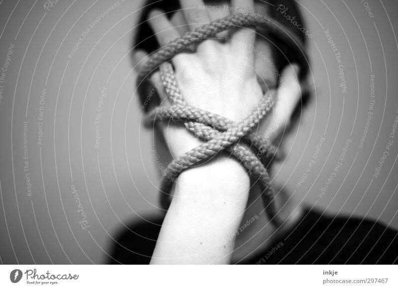 Human being Woman Man Hand Face Adults Dark Life Emotions Head Line Moody Exceptional Crazy Rope To hold on