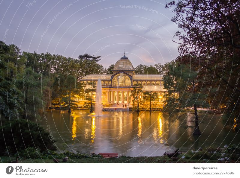 Crystal palace in Buen Retiro park, Madrid Vacation & Travel Tourism Garden Culture Landscape Sky Park Pond Lake Palace Building Architecture Monument