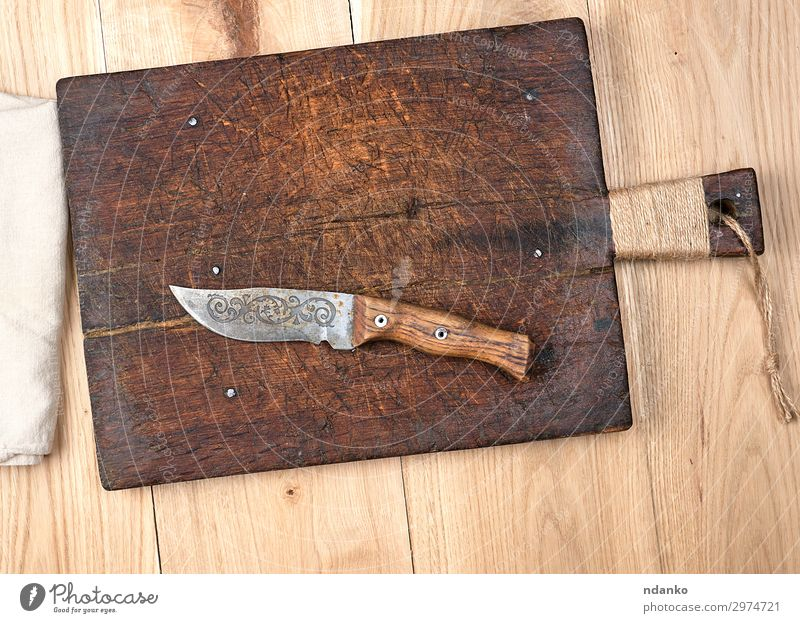 empty old wooden kitchen cutting board Knives Table Kitchen Tool Cloth Wood Metal Steel Old Above Retro Brown Yellow White blade Blank cooking Copy Space