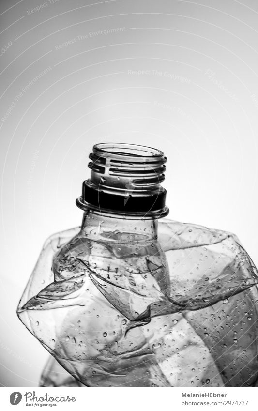 Plastic Bottle Water Utilize Esthetic Cheap Safety Protection Attentive Watchfulness Thirst Plastic packaging Deposit bottle Black & white photo Recycling