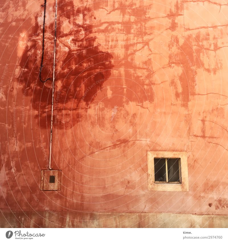 Lifelines #134 Wall (building) Wall (barrier) Window Transmission lines Red Orange House (Residential Structure) Pattern structure water stains