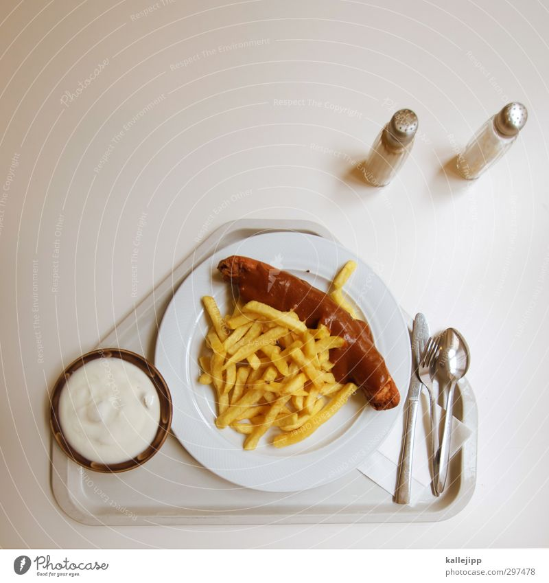 hot and greasy Food Meat Sausage Yoghurt Dairy Products Nutrition Lunch Fast food Crockery Plate Cutlery Knives Fork Spoon Delicious Hotdog French fries Tray