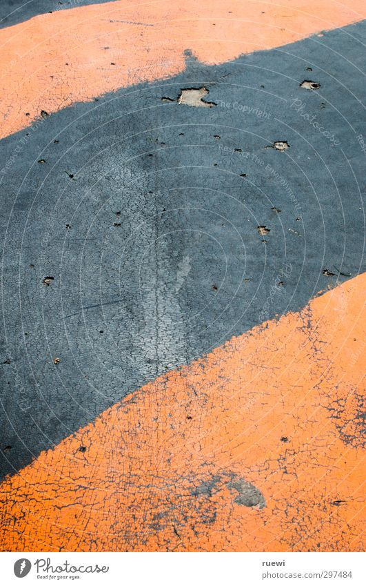Holes and stripes Tartan Construction site construction industry Plastic Sign Signage Warning sign Old Broken Crazy Orange Red Black Attentive Watchfulness Fear