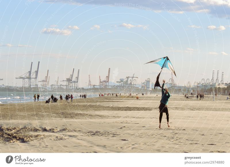 A woman flies a kite at the seashore. Promenading people and a port with cranes for cargo ships on background Leisure and hobbies Beach Ocean Winter Human being