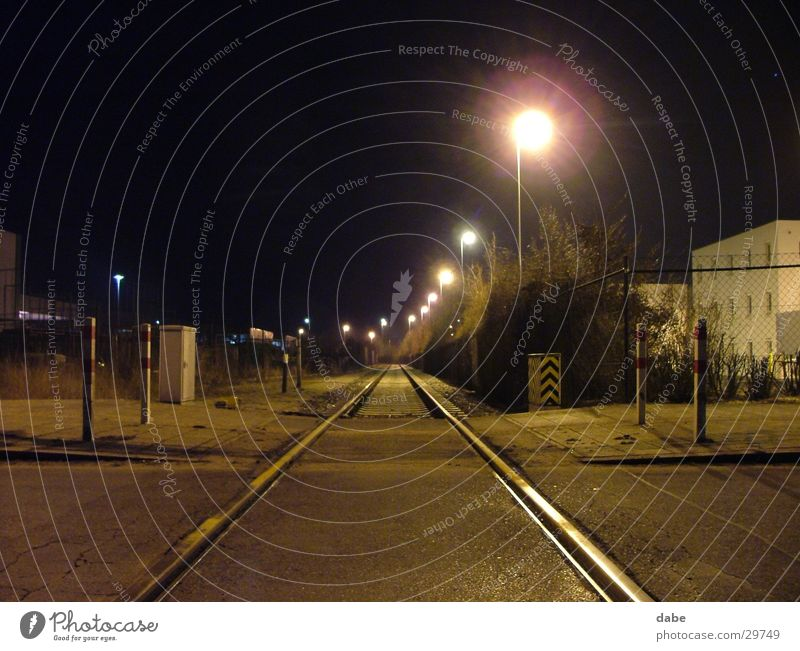 port nbg 01 Railroad tracks Night Nuremberg Calm Loneliness Industry Harbour