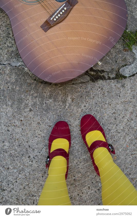 Woman Street Legs Wood Feet Music Asphalt Stockings Whimsical Guitar Strange Musical instrument Musician Sound High heels Hippie