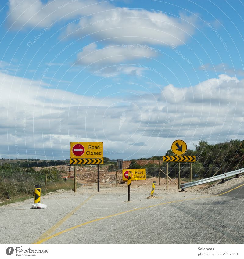 safe is safe Vacation & Travel Sky Clouds Horizon Plant Bushes Transport Traffic infrastructure Motoring Street Highway Road sign Sign Characters