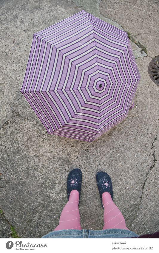 weather outlook Feminine Woman Adults Legs Feet Climate Climate change Weather Bad weather Rain Town Street Slippers Safety Protection Umbrella Surprise