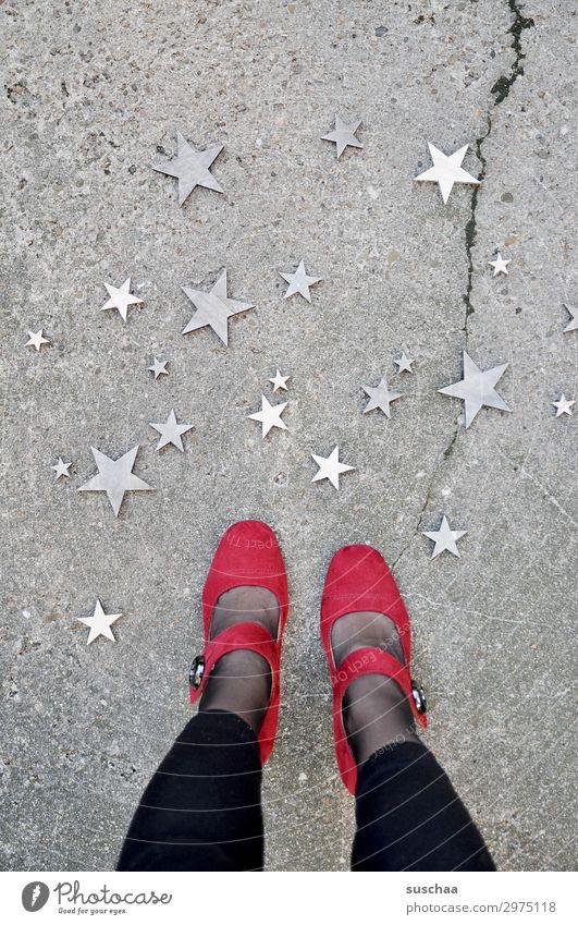 woman standing in the street looking down at the stars Legs feet feminine Woman Stand High heels Footwear Red Strange Whimsical Street Asphalt