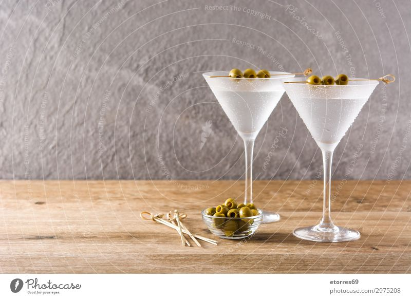 Classic Dry Martini with olives Beverage Alcoholic drinks Elegant Drop Fresh Cocktail dry glass liquid martini Olive sweet Transparent Vermouth Vodka