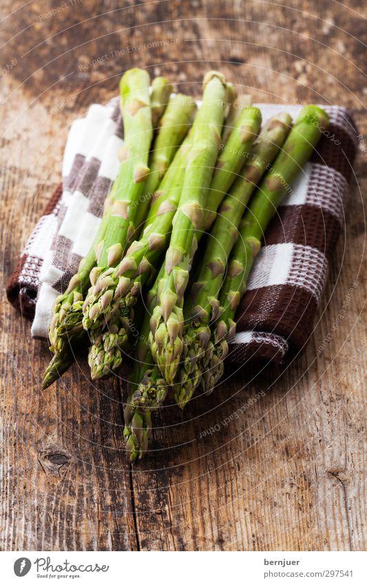 tasty stalk Vegetable Organic produce Vegetarian diet Good Asparagus Green green asparagus Raw Dish towel Wooden board Rustic Stalk spring vegetables Spring