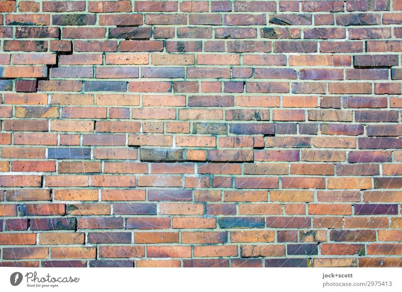 jingle Bricks Warmth Wall (building) Berlin Style Wall (barrier) Stone Orange Brown Moody Line Power Arrangement Esthetic Authentic Protection Many