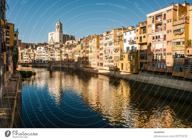 City on the river Town Old town Deserted House (Residential Structure) Church Dome Bridge Building Architecture Wall (barrier) Wall (building) Facade Balcony
