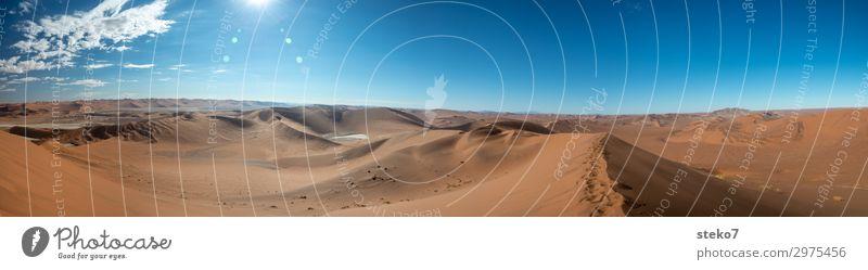 Blue Loneliness Far-off places Yellow Lanes & trails Orange Sand Horizon Infinity Hot Desert Dune Exotic Drought Namib desert Sossusvlei