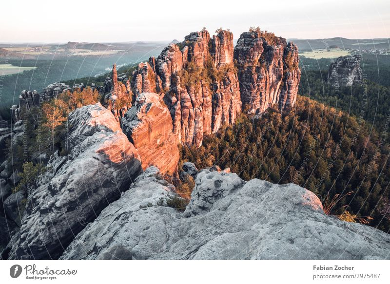 Schrammstein view in the Saxon Switzerland Vacation & Travel Camping Mountain Nature Landscape Sky Sunrise Sunset Spring Forest Rock Schrammstone Walking