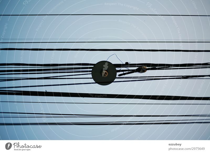 street lamp with wire cable Cable Technology Energy industry Sky Risk Safety Lamp Wire Street lamp Street lighting Colour photo Pattern Structures and shapes