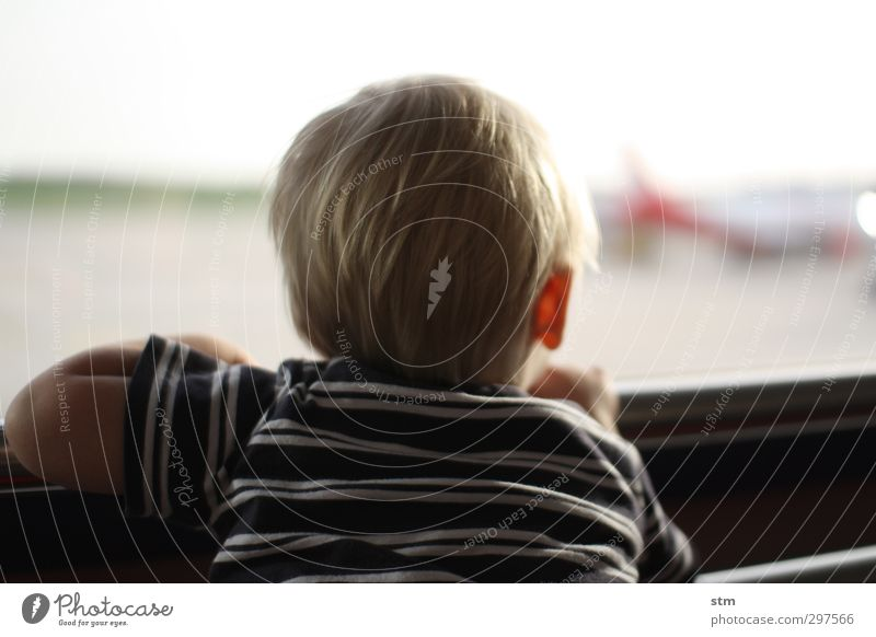 Human being Child Vacation & Travel Far-off places Window Life Boy (child) Hair and hairstyles Head Infancy Blonde Contentment Wait Tourism Aviation Airplane