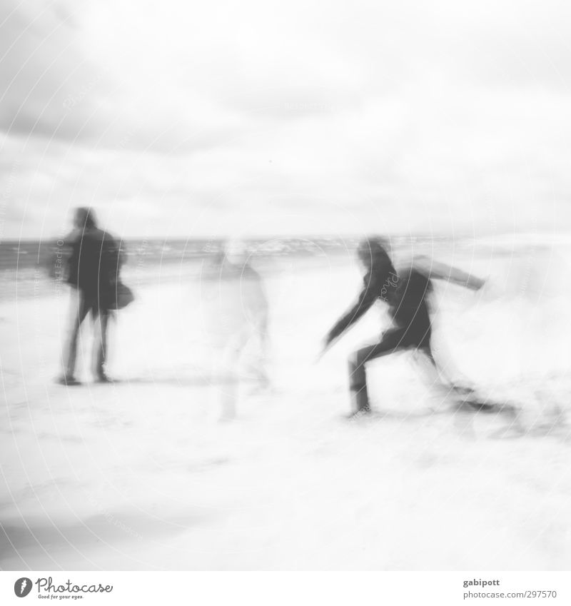 Rømø | The volatility of the moment Human being 3 Group Movement Life Art Mobility Stagnating Blur Contour Snapshot Black & white photo Exterior shot