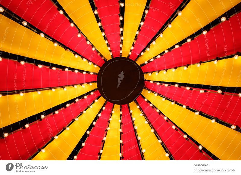 circus sky Design Circus Culture Event Shows Famousness Fantastic Happiness Funny Above Positive Retro Round Yellow Red Circus tent Point Roof Tarpaulin