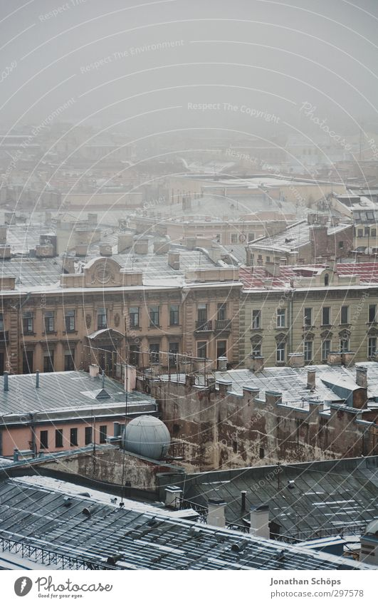 City House (Residential Structure) Far-off places Cold Sadness Architecture Building Gray Fog Gloomy Vantage point Manmade structures Downtown Russia Old town