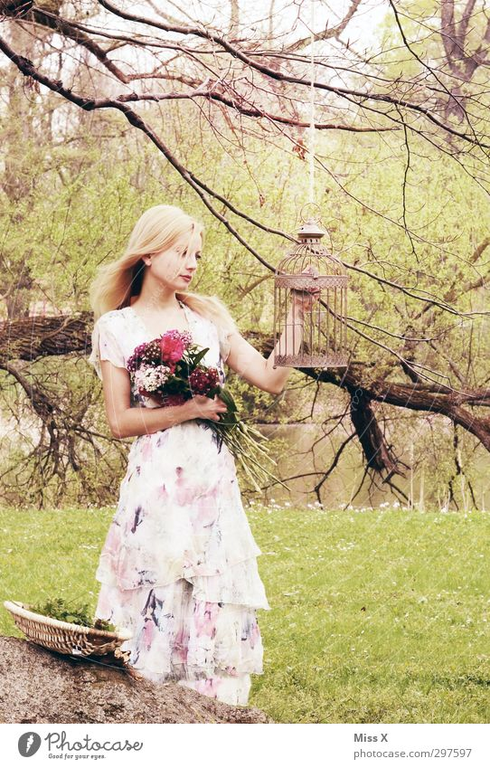 fairytale bride Beautiful Wedding Human being Feminine Young woman Youth (Young adults) 1 18 - 30 years Adults Spring Tree Flower Bushes Park Forest Pond Dress