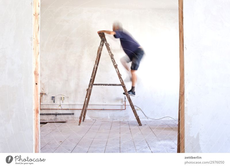 Human being Man Interior design Wall (building) Wall (barrier) Living or residing Flat (apartment) Room Door Construction site Climbing Career Ladder Redecorate