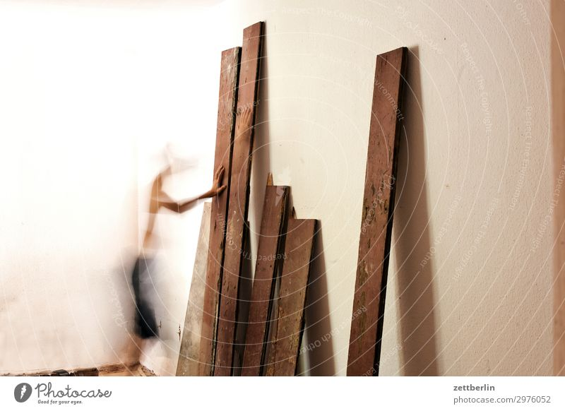 Human being Man Wood Interior design Wall (building) Movement Copy Space Wall (barrier) Living or residing Flat (apartment) Room Construction site