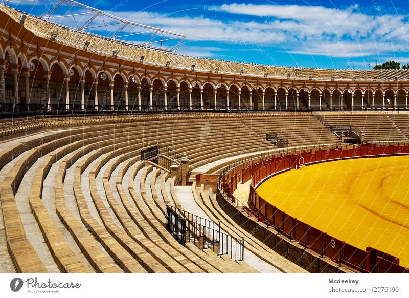 Bullfight Arena I Sky Clouds Beautiful weather Seville Andalucia Spain Europe Town Downtown Old town Populated Manmade structures Building Architecture Stands