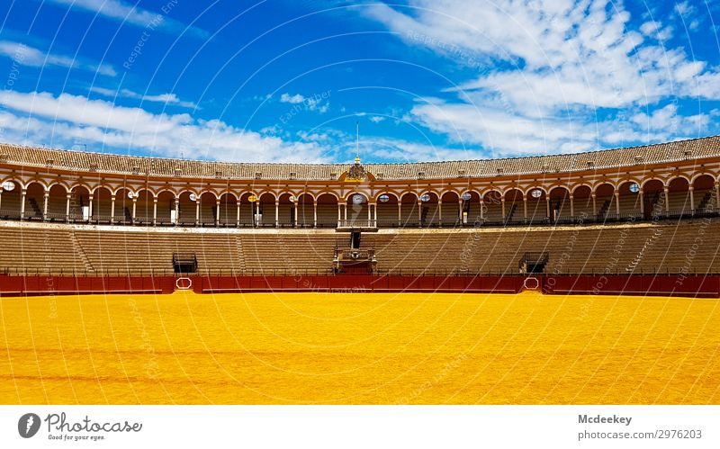 Bullfight Arena II Sand Sky Clouds Summer Beautiful weather Warmth Seville Andalucia Spain Europe Town Downtown Old town Populated Stands Tourist Attraction