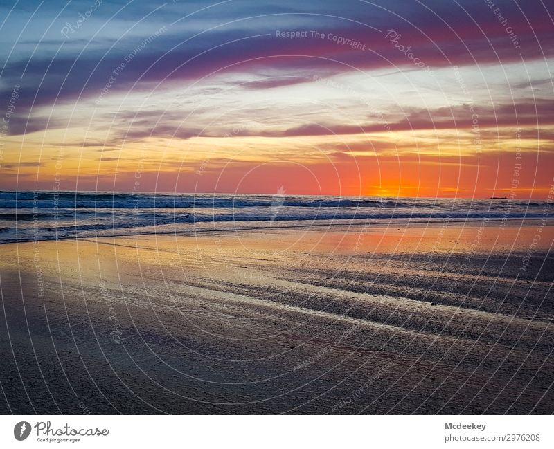 Evening play of colours III Environment Nature Landscape Water Sky Clouds Horizon Sun Sunrise Sunset Sunlight Summer Beautiful weather Waves Coast Beach Ocean