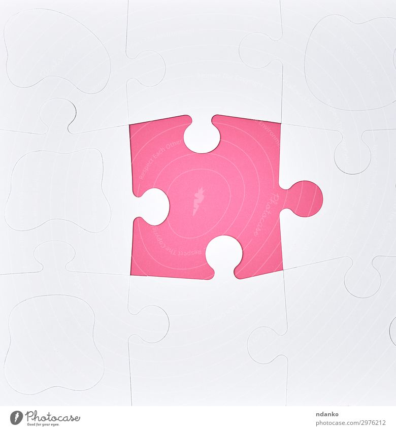 white large blank puzzles on a pink background Design Leisure and hobbies Playing Success Business Paper Toys Pink White Colour Idea Creativity Problem solving