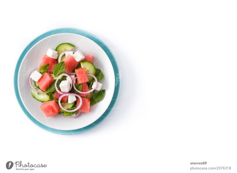 Watermelon salad with feta cheese Vegetable Fruit Vegetarian diet Asian Food Plate Exotic Summer Autumn Leaf Stone Fresh Blue Gray Green Red White