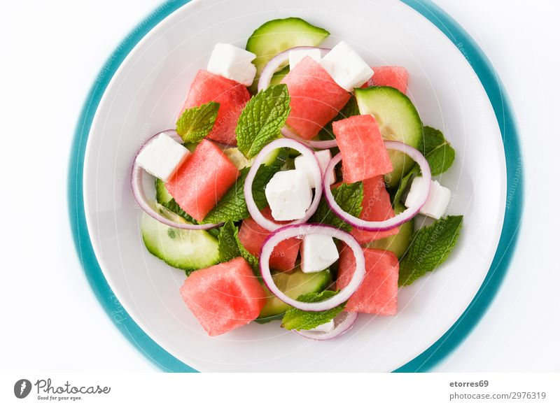 Watermelon salad with feta cheese Food Cheese Vegetable Fruit Nutrition Lunch Dinner Vegetarian diet Asian Food Plate Exotic Summer Autumn Leaf Stone Fresh Blue