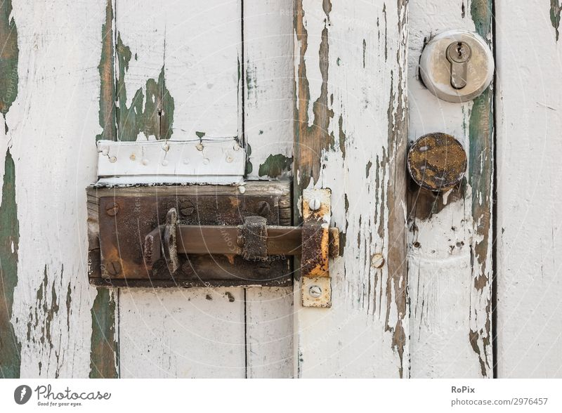Weathered wooden door. Lifestyle Design Living or residing House (Residential Structure) Garden Gardening Workplace Agriculture Forestry Industry Services Tool