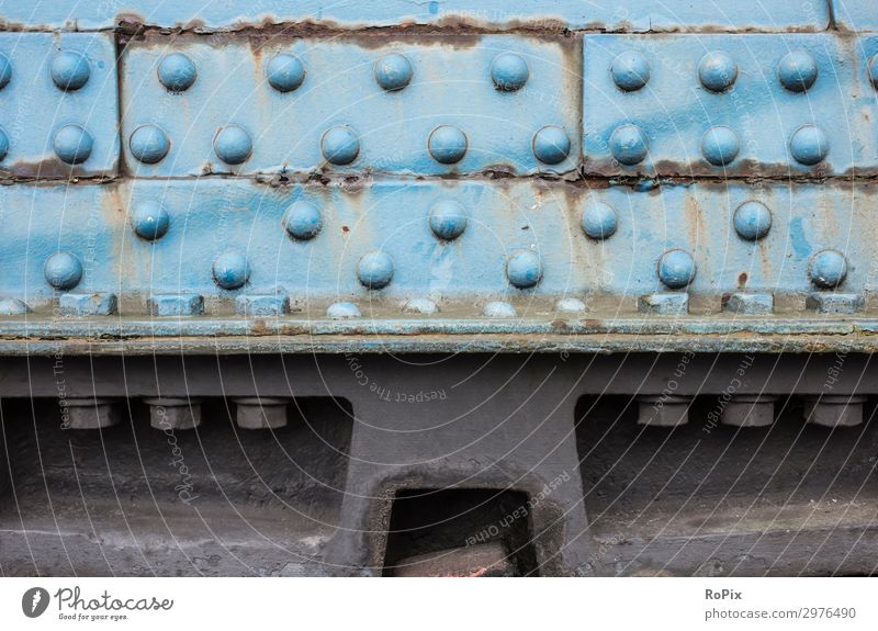 Gusset plate on an old bridge structure. Steel structure steel construction Steel construction Iron Screw pitting corrosion Bolt connection technique Weight