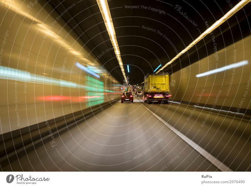 Motorway tunnel. Lifestyle Trip Adventure Night life Economy Industry Logistics Art Work of art Architecture Environment Air Climate Climate change Town Tunnel