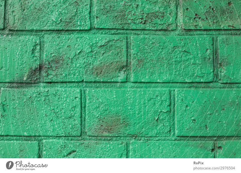 Green painted brick wall. Wall (barrier) Wall (building) rampart varnished Architecture House (Residential Structure) house wall Town urban Art glaze masonry