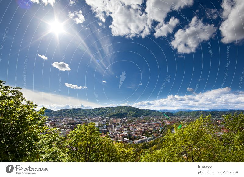 radiant Landscape Sky Clouds Sunlight Spring Beautiful weather Tree Bushes Hill River bank Mura Graz Austria Town Outskirts Populated
