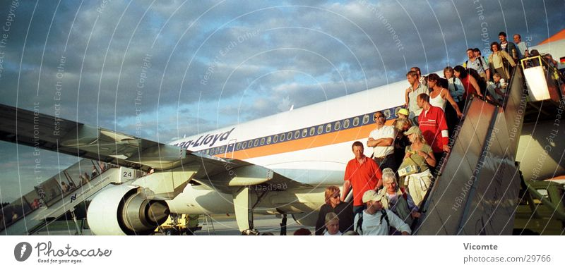 holiday planes Airplane Passenger Gangway Nuremberg Panorama (View) Aviation Airport Hapag Lloyd Large