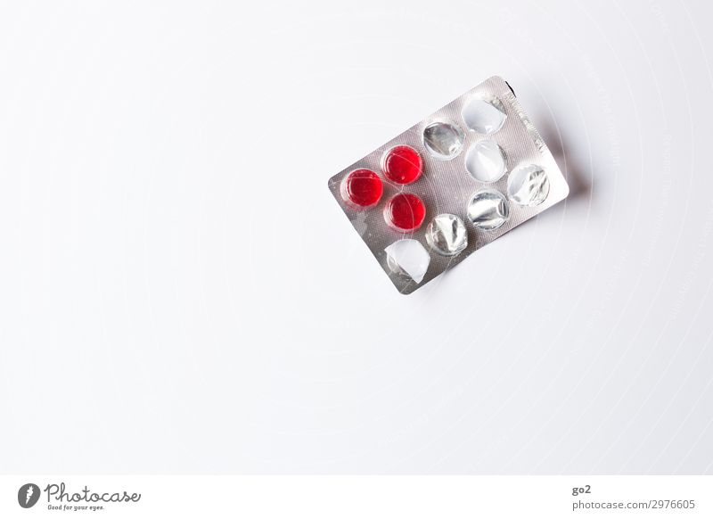 Red tablets Healthy Health care Medical treatment Nursing Illness Medication Packaging Plastic Colour photo Interior shot Studio shot Close-up Deserted