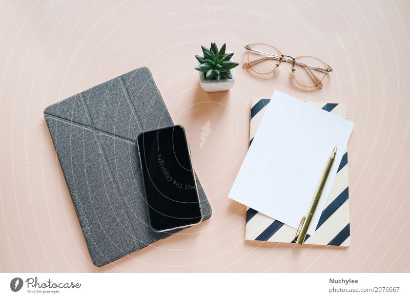 Flat lay of workspace desk Lifestyle Style Design Summer Decoration Success Work and employment Workplace Office Business Telephone PDA Screen Technology