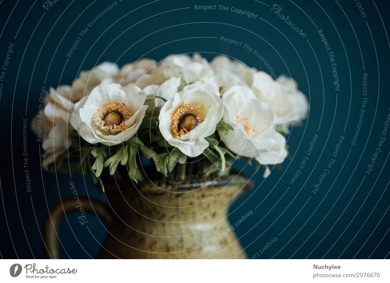 Still life of flowers in clay vase Style Design Beautiful Decoration Nature Plant Flower Blossom Fashion Bouquet Dark Fresh Natural Retro Green Romance