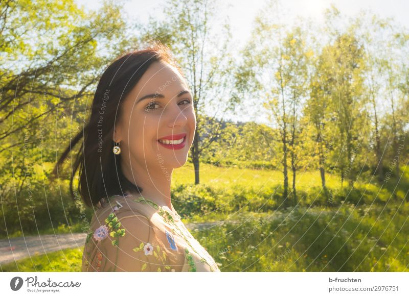 Portrait of a woman in nature, summer Lifestyle Beautiful Leisure and hobbies Vacation & Travel Freedom Summer Summer vacation Sun Woman Adults Face 1