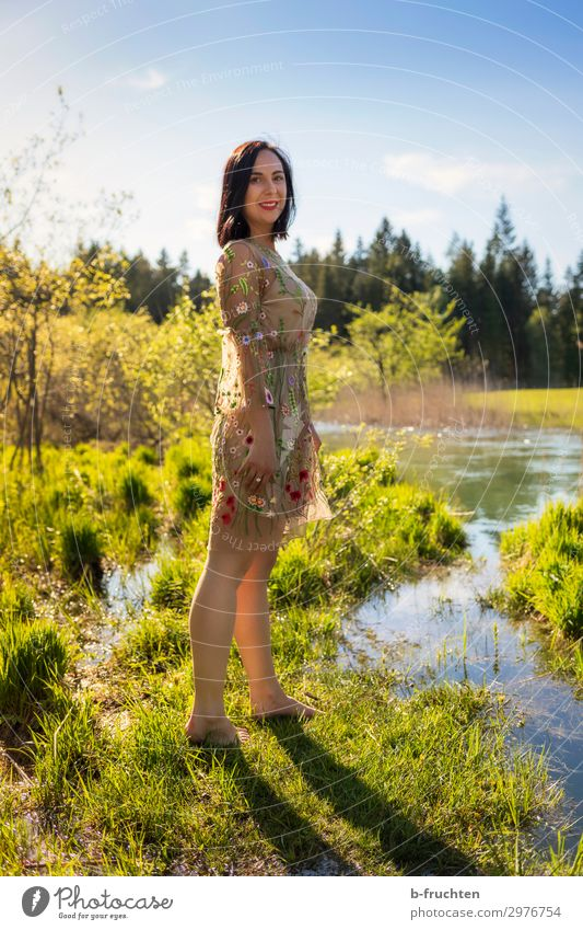 Woman in summer dress, nature, water Adults 1 Human being Environment Nature Plant Water Summer Beautiful weather Park Meadow Brook Relaxation To enjoy Stand