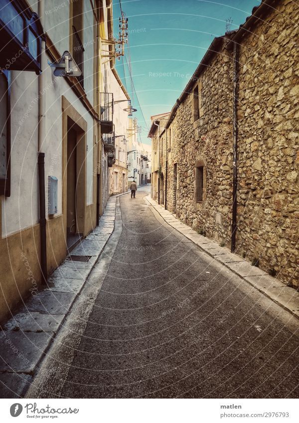 Catalan village road Human being Masculine 1 Small Town Old town House (Residential Structure) Wall (barrier) Wall (building) Window Door Pedestrian Street